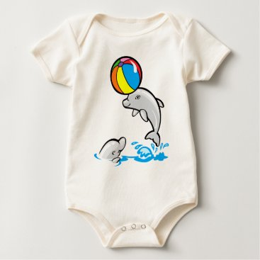 Beach Themed Baby dolphins playing baby bodysuit