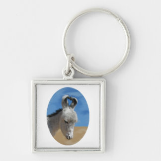 Baby Donkey Silver-Colored Square Keychain