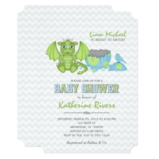 Baby Dragon Baby Shower Invitation Green Blue Gray