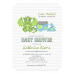 Baby Dragon Baby Shower Invitation Green Blue Gray