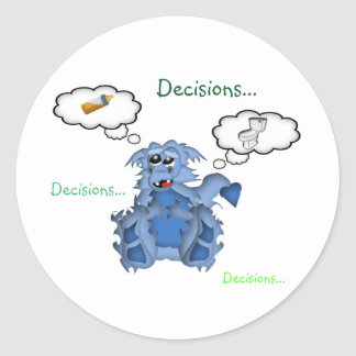 Baby Dragon Decisions...Decisions...Decisions... Classic Round Sticker