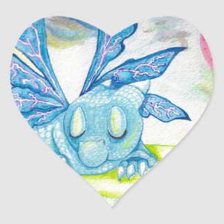 Baby Dragon Fairy blue lightning flower storm lily Heart Sticker
