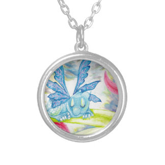 Baby dragon fairy tiger lily flower storm spring silver plated necklace
