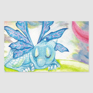 Baby dragon fairy tiger lily flower storm spring rectangular sticker