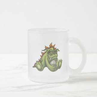 Baby dragon frosted glass coffee mug