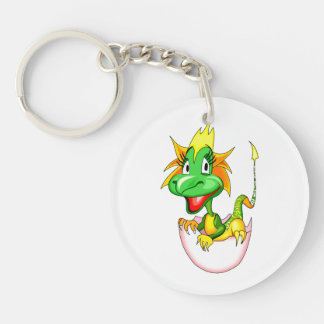 Baby dragon in egg graphic keychain