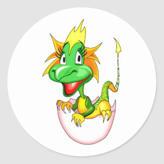 Baby dragon in egg graphic.png classic round sticker
