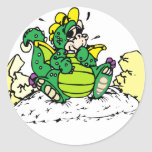 baby dragon round stickers