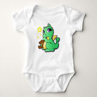 Baby dragon sucking its thumb - Green Baby Bodysuit