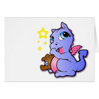Baby dragon sucking its thumb - Purple - Card