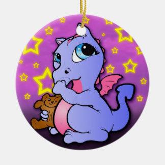 Baby Dragon Sucking Thumb - Purple Ceramic Ornament