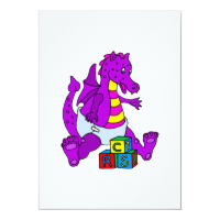 Baby Dragon with Blocks Invites
