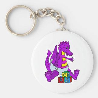 Baby Dragon with Blocks Keychain