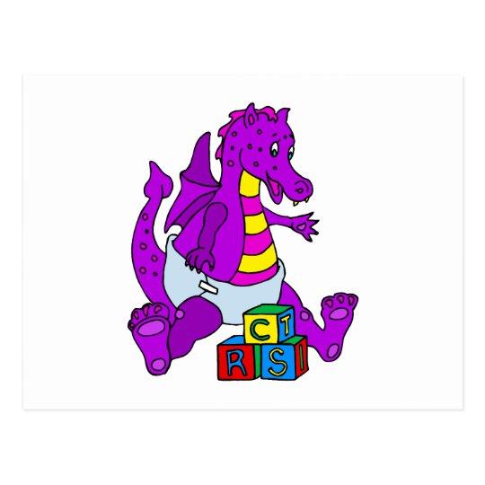 Baby Dragon with Blocks Postcard