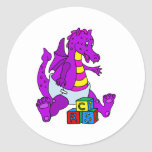 Baby Dragon with Blocks Round Stickers
