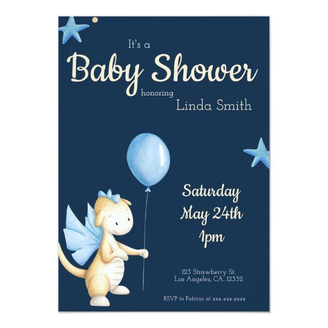 Baby Dragon with Blue Balloon Boy Baby Shower Invitation