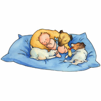 Baby Dreams on Dog Bed -  Acrylic Cutout Magnet Photo Sculpture Magnet