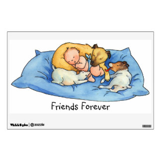 Baby Dreams on Dog Bed - Nursery Wall Decal