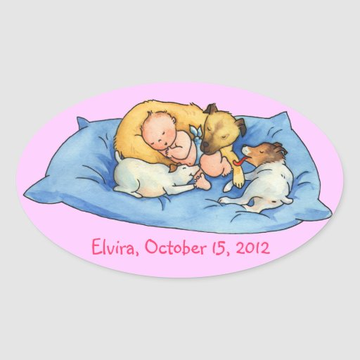 Baby Dreams on Dog Bed - Oval Stickers