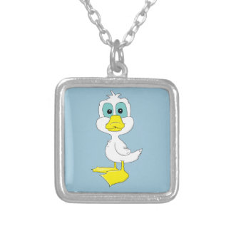 Baby duck design matching jewelry set square pendant necklace