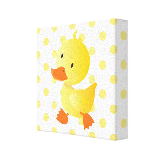 Baby Duck Polka Dots Nursery Art Canvas Print