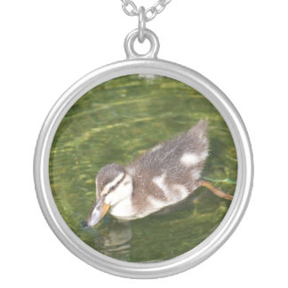 Baby Duck Swimming Sterling Silver Necklace