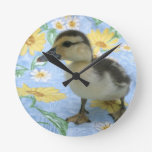baby duckling on flowered background left clock