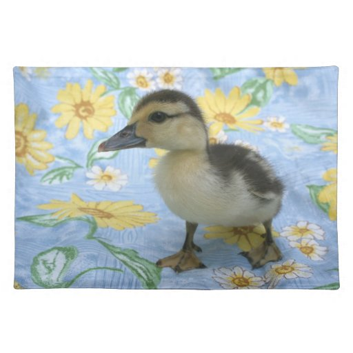 baby duckling on flowered background left cloth place mat