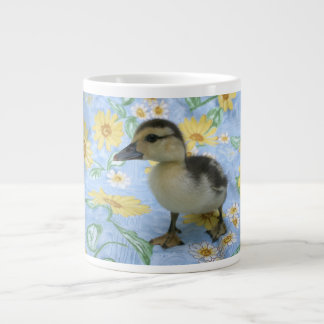 baby duckling on flowered background left large coffee mug