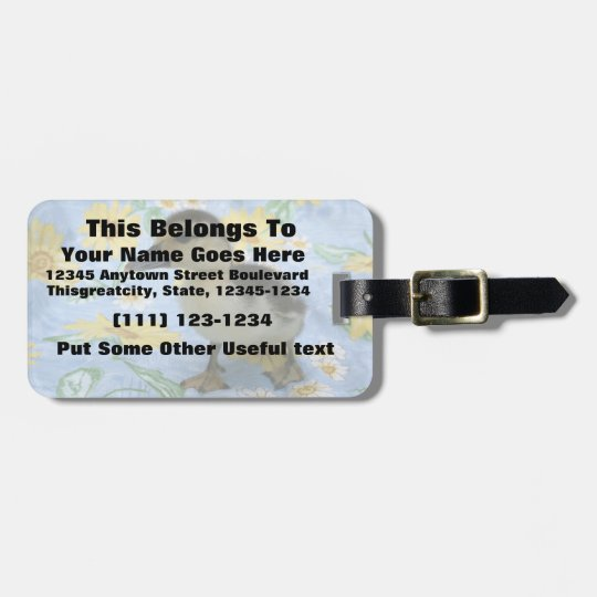 baby duckling on flowered background left luggage tag