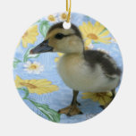 baby duckling on flowered background left christmas tree ornaments