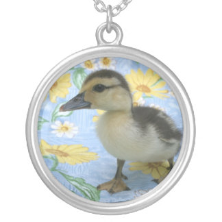 baby duckling on flowered background left round pendant necklace
