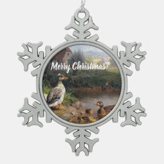 Baby Ducklings Duck Birds Pond Snowflake Ornament