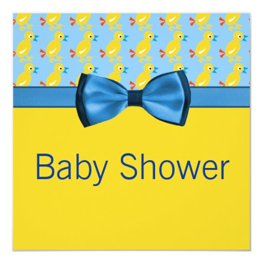Baby Ducks In Yellow & Blue Baby Shower Card