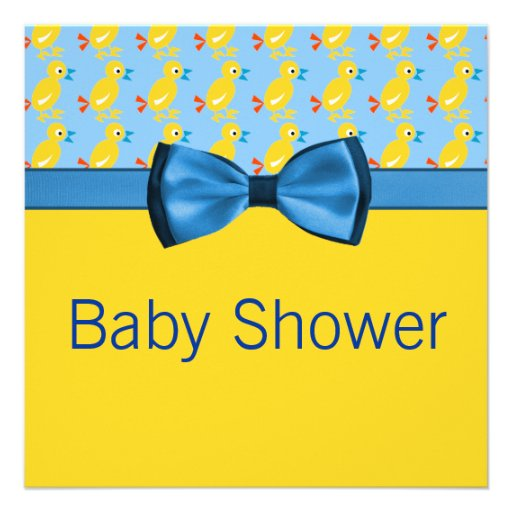 baby ducks in yellow blue baby shower announcement zazzle
