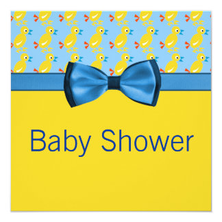 Baby Ducks In Yellow & Blue Baby Shower Announcement