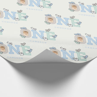 Baby Ducks One Photo Boy 1st Birthday Gift Wrap