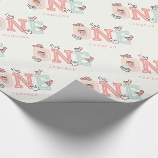 Baby Ducks One Photo Girl 1st Birthday Gift Wrap