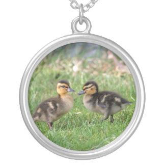 Baby Ducks Photo Round Pendant Necklace