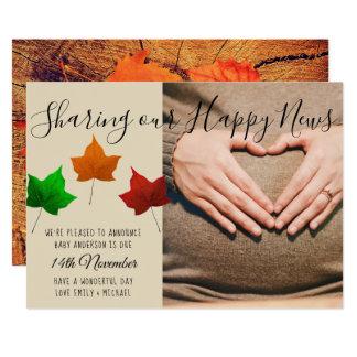 Baby Due Autumn Fall PHOTO Announcement Card