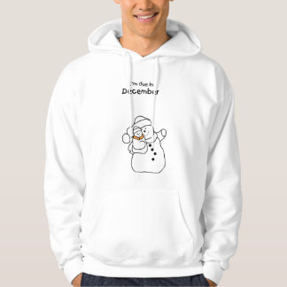 Baby Due in December SnowMan Hooded Pullover