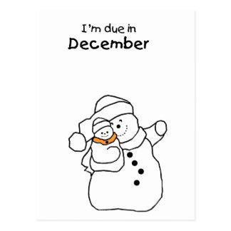Baby Due in December SnowMan Postcard