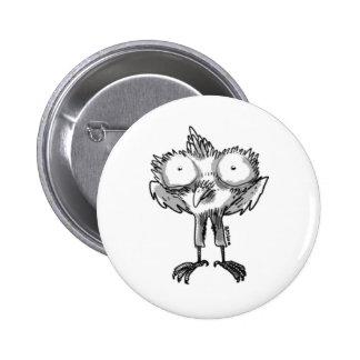 baby eagle cartoon style illustration pinback button