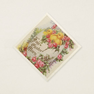 Baby Easter Chicks and Roses Paper Napkins