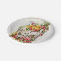 Baby Easter Chicks and Roses Paper Plates