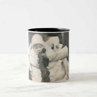baby eating chocolate bunny mug