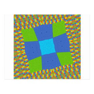 Baby eco green Checkered Blue cyan Postcard