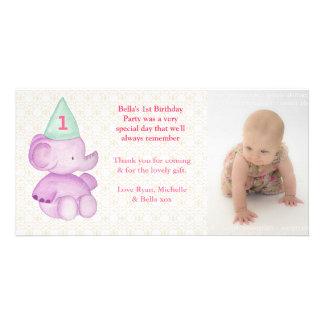 Baby Elephant 1st Birthday Thank You Photo Card