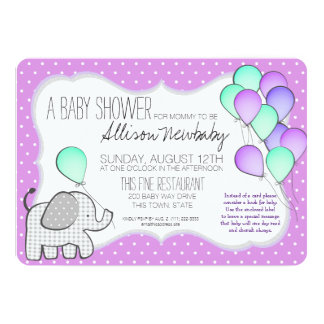 Baby Elephant and Balloons Magenta Baby Shower Card