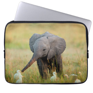 Baby Elephant and Birds Laptop Computer Sleeves